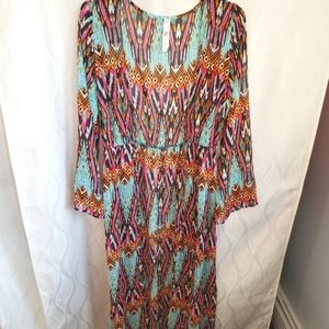 Sheer Bright Abstract Maxi Long Sleeve Coverup
